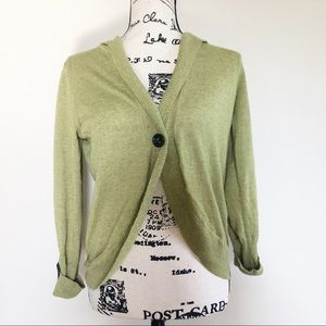 CAbi Cropped Linen Blend Hooded Cardigan O1